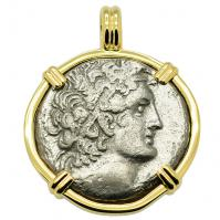 Greek-Egyptian 74-73 BC, Ptolemy 1st tetradrachm in 14k gold pendant, Mediterranean Sea shipwreck.