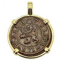 SOLD King Philip III Four Maravedis Pendant; Please Explore Our Spanish Treasure Pendants For Similar Items.