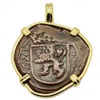 Spanish 8 maravedis dated 1623, in 14k gold pendant.