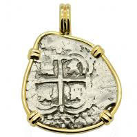 SOLD King Philip IV Spanish 1 Real Pendant; Please Explore Our Spanish Treasure Pendants For Similar Items.