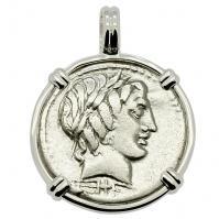 SOLD Apollo and Jupiter Denarius Pendant; Please Explore Our Roman Pendants For Similar Items.