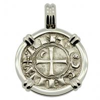 SOLD Crusader Cross Denier Pendant; Please Explore Our Medieval Pendants For Similar Items.