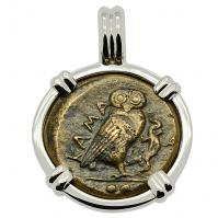 SOLD Owl & Gorgon Tetras Pendant; Please Explore Our Greek Pendants For Similar Items.