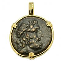 Greek 188-133 BC, Zeus and Thunderbolt bronze coin in 14k gold pendant.