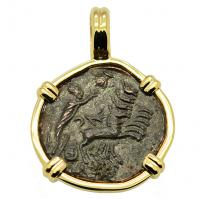 Roman Antioch AD 337-340, Constantine the Great follis in 14k gold pendant.