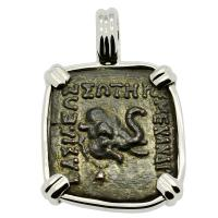 Indo-Greek 155-130 BC, Elephant and Club of Hercules bronze coin in 14k white gold pendant.