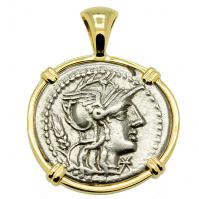 Roman Republic 128 BC, Roma and Victory Chariot denarius in 14k gold pendant.
