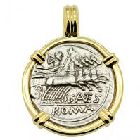 SOLD Jupiter Chariot & Roma Denarius Pendant; Please Explore Our Roman Pendants For Similar Items.