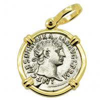 Roman Empire AD 101 - 102, Emperor Trajan and Victory denarius in 14k gold pendant.