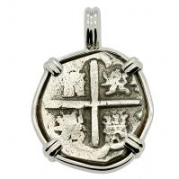 SOLD King Philip III Spanish 1 Real Pendant; Please Explore Our Spanish Treasure Pendants For Similar Items.