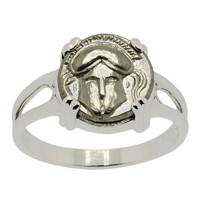 Greek Helmet Diobol Ladies Ring
