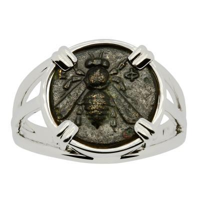 Greek Ephesus 375 - 325 BC, Bee bronze coin in 14k white gold ladies ring
