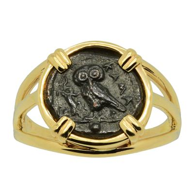 Greek 420-410 BC, Owl bronze coin in 14k gold ladies ring.