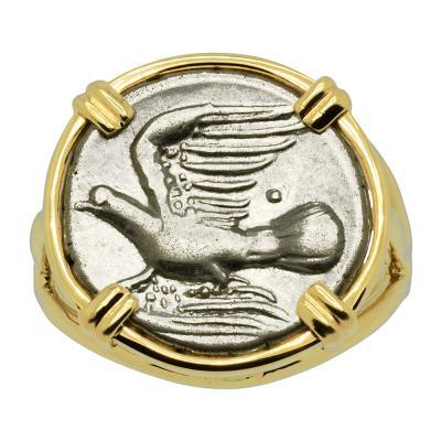 Greek Dove coin in 14k gold ladies ring.