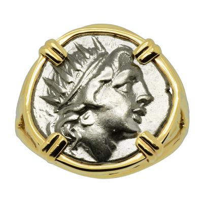 Sun God Helios and Rose Drachm coin gold ladies ring.