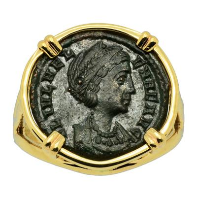 AD 324-329 Saint Helena follis in gold ladies ring