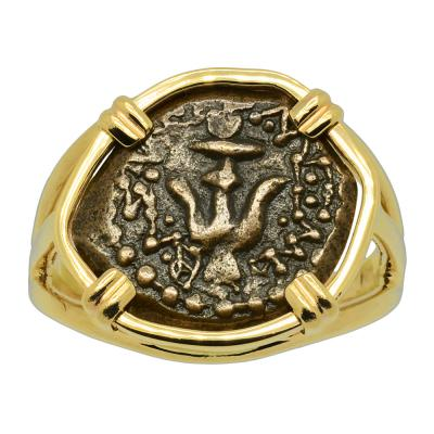Holy Land 103-76 BC, Widow's mite in gold ladies ring