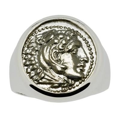 325-323 BC, Alexander the Great coin white gold men's ring