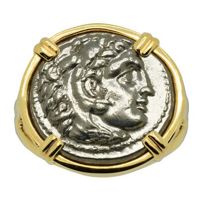 Alexander the Great coin in gold ladies ring