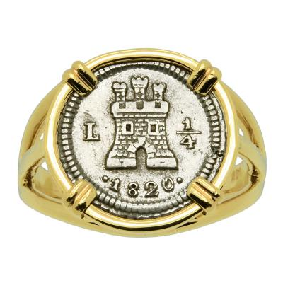1820 Colonial Spanish 1/4 real in gold ladies ring