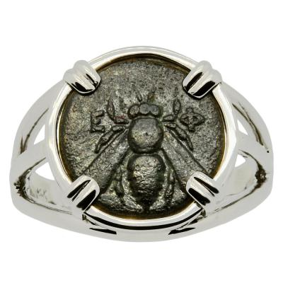 350-300 BC Bee bronze coin white gold ladies ring