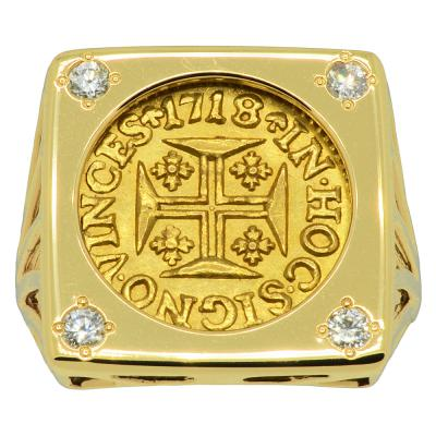 1718 Portuguese 400 Reis in gold ladies ring with diamonds