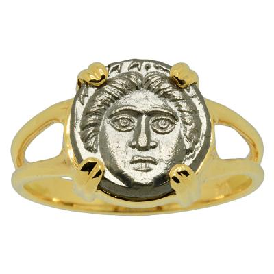 375-325 BC Gorgon coin in gold ladies ring