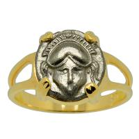 Greek 450-350 BC, Corinthian Helmet diobol in 14k gold ladies ring.