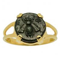 Greek Ephesus 375 - 325 BC, Bee and Artemis bronze coin in 14k gold ladies ring.
