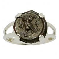 Greek 420-410 BC, Owl and Athena bronze onkia coin in 14k white gold ladies ring.