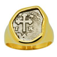 Spanish 1 real 1686-1699, in 14k gold men's ring.