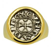 Italian 1139-1252, Crusader Cross denaro in 14k gold men's ring.
