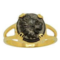 Greek 309-220 BC, Lion bronze coin in 14k gold ladies ring.