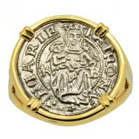 Hungarian, dated 1536, Madonna and Child denar in 14k gold ladies ring.
