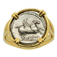 Roman 90 BC, Pegasus and Victoria quinarius in 14k gold ladies ring.