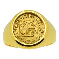 Portuguese 400 Reis dated 1719, in 14k gold men's ring.
