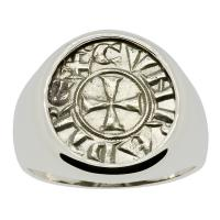 Italian 1139-1252, Crusader Cross denaro in 14k white gold men's ring.