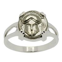 Greek 450-350 BC, Corinthian Helmet diobol in 14k white gold ladies ring.
