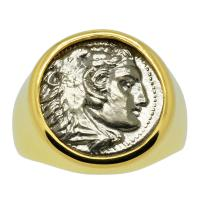 Greek 324-323 BC, Lifetime Issue Alexander the Great drachm in 14k gold men's ring.