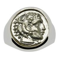 Greek 328-323 BC, Lifetime Issue Alexander the Great drachm in 14k white gold men's ring.