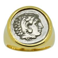 Greek 325-323 BC, Lifetime Issue Alexander the Great drachm in 14k gold men's ring.