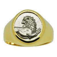 Greek 386-338 BC, Lion hemidrachm in 14k gold men's ring.