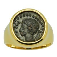 Roman Empire 19-2 BC, Caesar Augustus quadrant coin in 14k gold men's ring.