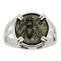 Greek Ephesus 375 - 325 BC, Bee and Stag bronze coin in 14k white gold ladies ring.