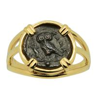 Greek 420-410 BC, Owl and Athena bronze onkia coin in 14k gold ladies ring.