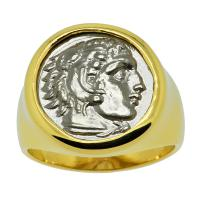 Greek 328-323 BC, Lifetime Issue Alexander the Great drachm in 14k gold men's ring.