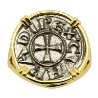 Italian 1139-1252, Crusader Cross denaro in 14k gold ladies ring.