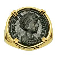 Roman AD 324-329, Saint Helena and Pax follis in 14k gold ladies ring.