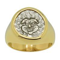 Greek 480-450 BC, Gorgon drachm in 14k gold men's ring.
