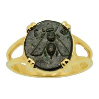 Greek Ephesus 390 - 300 BC, Bee and Stag bronze coin in 14k gold ladies ring.